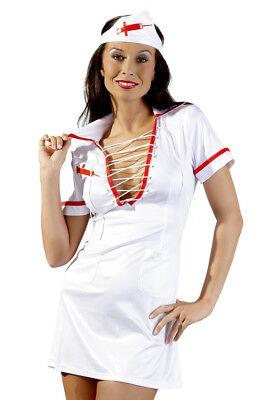 Minikleid Krankenschwester Nurse XL 48 weiß rot Schnürung Stirnband - Rot Weiß Kleid Kostüm