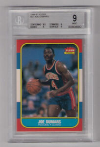 1986 FLEER JOE DUMARS ROOKIE CARD BGS 9 MINT