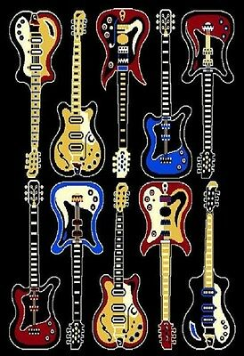 Music Rug (4 X 6 MODERN TEN ELECTRIC GUITARS ROCK AND ROLL MUSIC THEME AREA)