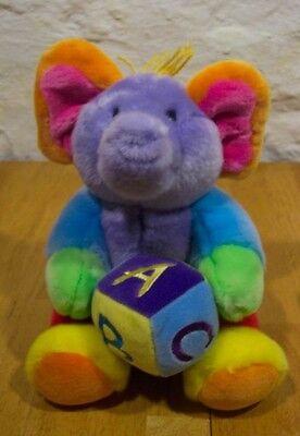 "Aurora Baby COLORFUL RAINBOW ELEPHANT W/ BLOCK 10"" Plush Stuffed Animal"