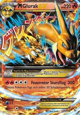 Pokemonkarte M Glurak EX, Flammenmeer, 13/106 Pokemon Karte M Glurak Ex
