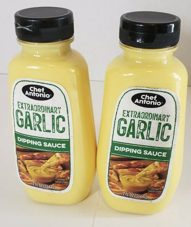2 Pack Of Chef Antonio Extraordinary Garlic Dipping Sauce 12 oz Like Papa Johns!