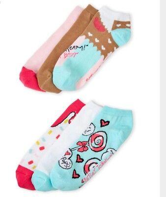 BETSEY JOHNSON 6 x Socks Low Cut 9-11 Ice Cream Kiss Lollipops I Scream NWT Pink