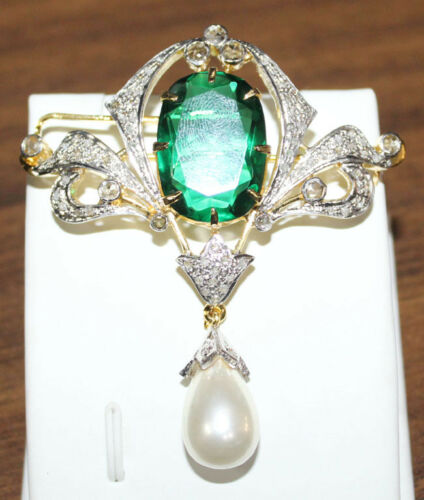 2.05cts ROSE CUT DIAMOND EMERALD PEARL VICTORIAN LOOK 925 SILVER BROOCH PIN