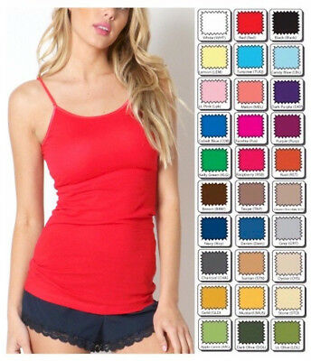 -  Womens Tank Top Zenana Outfitters Long Cami Spaghetti Strap S/M/L/XL Free Ship