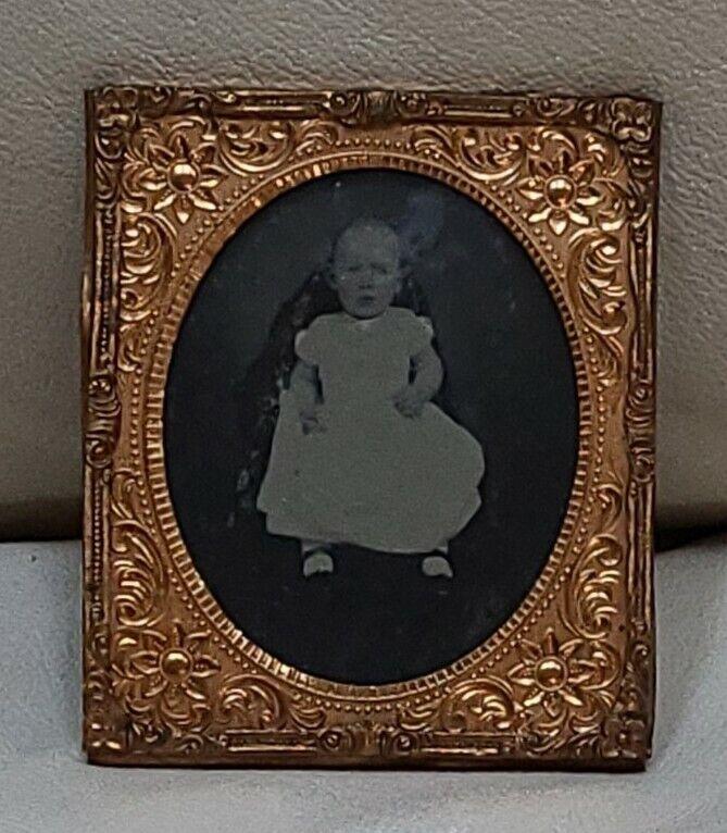 Antique Picture Frame tin type daguerreotype portrait Civil War photo baby child
