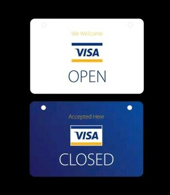 2-sided Visa Credit Cards Accepted Open Closed Plastic Hanging Door Window Sign