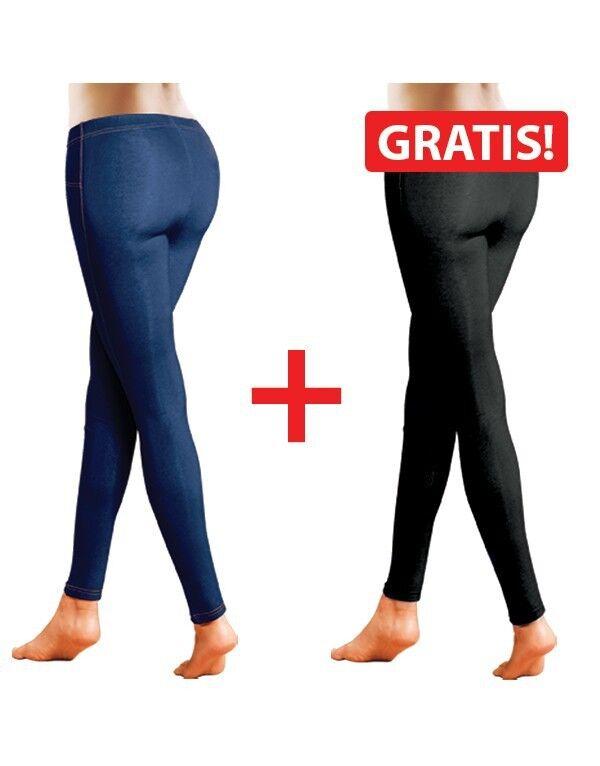 2er Pack Jeggins Skinny Demin Strech Jeans-Leggins Slim-Jeans blau schwarz