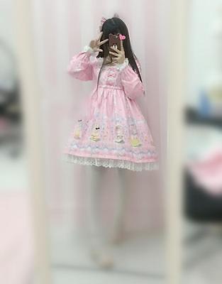 Womens Lolita Sweet Cake With Rabbit Print Dress Long Sleeve Cute 3 Colors