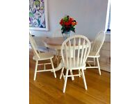 Lovely shabby chic farmhouse style rustic table and 4 chairs clotted cream chalk paint