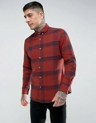 HYMN LONDON - BNWT - Lydon Wide Check Orange/Red Shirt - Size Extra Large