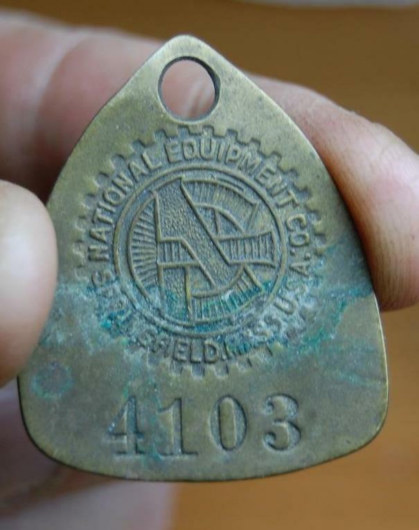 RARE NATIONAL EQUIPMENT CO.  EMPLOYEE ID MACHINE WORK TAG 4103 SPRINGFIELD MASS.