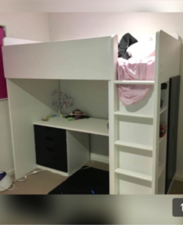 Bunk bed iwith storage, wardrobe and desk