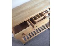 Wooden kitchen island trolley with drawers