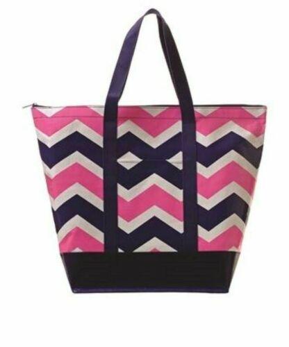 Toss Designs Bella Low Tide Chevron Navy Pink Monkey Tote Bag Beach Bag Shopper