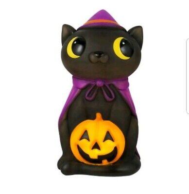 "17"" LED Black Cat Witch Blowmold Halloween Light Up Outdoor Plastic Pumpkin"