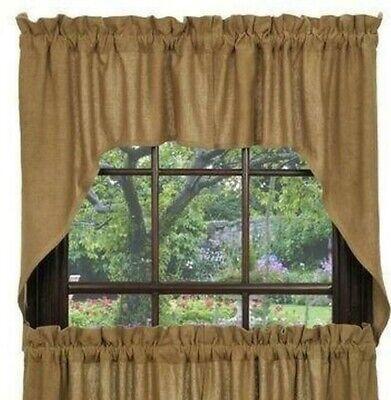 farmhouse rustic country primitive cabin Tan deluxe Burlap SWAGS window -