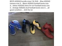 X5 pairs of ADIDAS BOYS FOOTBALL BOOTS