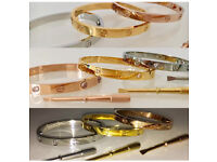 Unisex bracelet/bangle LIKE Cartier screw diamanté rose gold silver