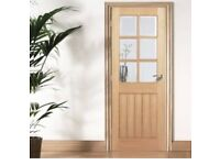 "2 Oak glazed 27"" doors new"