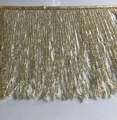 "By Yard-12"" Glass GOLD BUGLE Seed Beaded Fringe Lamp Costume Trim  Seed Beaded Trim"