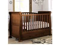 Sleigh cot bed & changing dresser