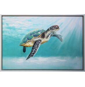 Ocean Turtle Framed Painting Print Canvas Beach Coastal Sea Wall Art Camp Hill Brisbane South East Preview