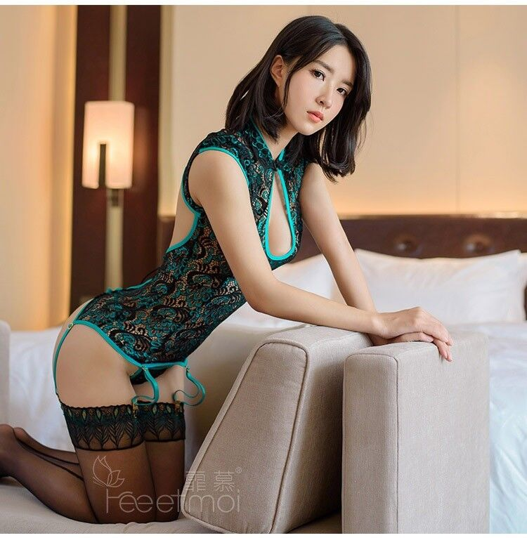 Sexy toy Lingerie Women Set Lace Peacock Embroidery Cheongsam Erotic Lingerie