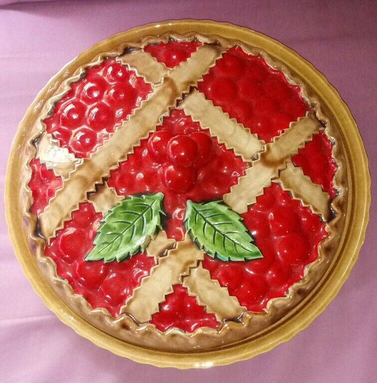 """Gorgeous Large 12"""" Portugese Ceramic Cherry Pie Plate & Cover"""