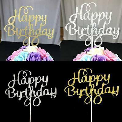 Wedding Cake Decorating Supplies (5pcs Cake Topper Flag Gold Silver Happy Birthday Party Cake DIY Decor)