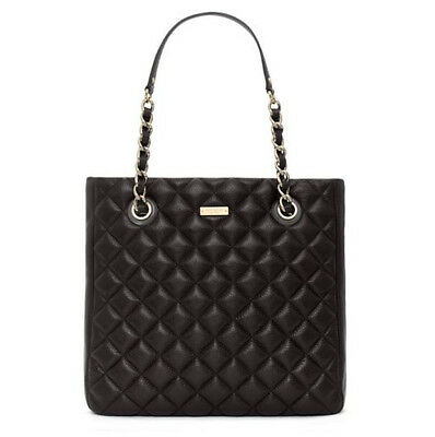 NWT KATE SPADE GOLD COAST SIERRA BLACK LEATHER CHAIN TOTE MSRP $458 Fits Laptop