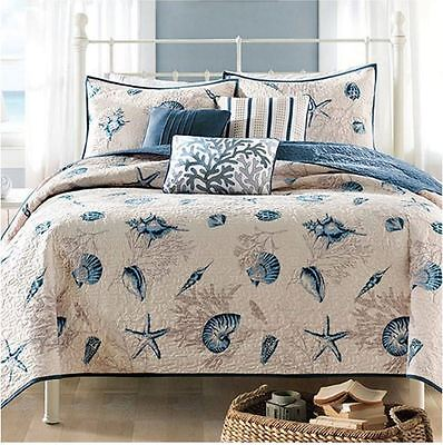 Theme Bedding Set - King Size Bedding Beach Theme Comforter Set Ocean Seashell Coastal Nautical Sea