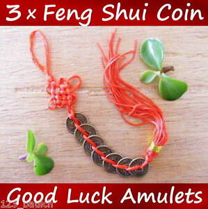 3 x feng shui chinese good luck 7 coin red tassel - Feng shui good luck coins ...