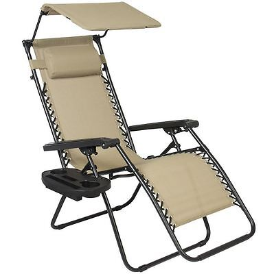 Deck Beach Chair, Folding Furniture Lounge Outdoor Pool Zero Gravity, Cup