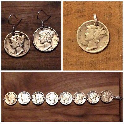 Mercury Dime Coin Jewelry Set-Bracelet, Earrings & Pendant! .925 Coin Jewelry Earrings