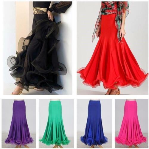 Women Latin Salsa Flamenco Ballroom Dance Modern Tango Waltz Skirt Dress Fashion