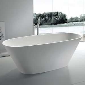 Free Standing Solid Surface Stone Resin Glossy Bathtub 72 X 31 Inch SW 107L