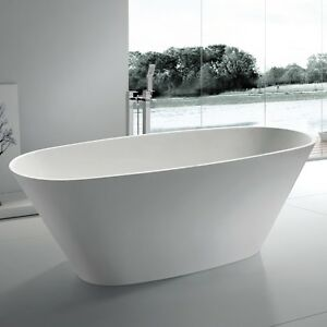 Free standing solid surface stone resin glossy bathtub 72 for Freestanding stone resin bathtubs