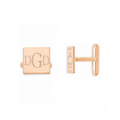 Custom Engraved Initials Monogram Wedding Cufflinks in Rose Gold Plated Silver