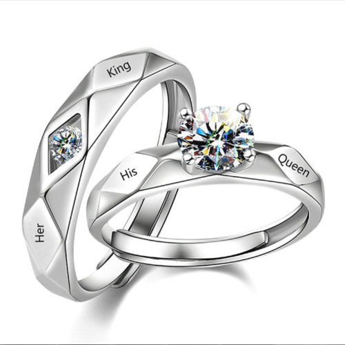 Her King His Queen Adjustable Size Couple Ring 925 Silver CZ