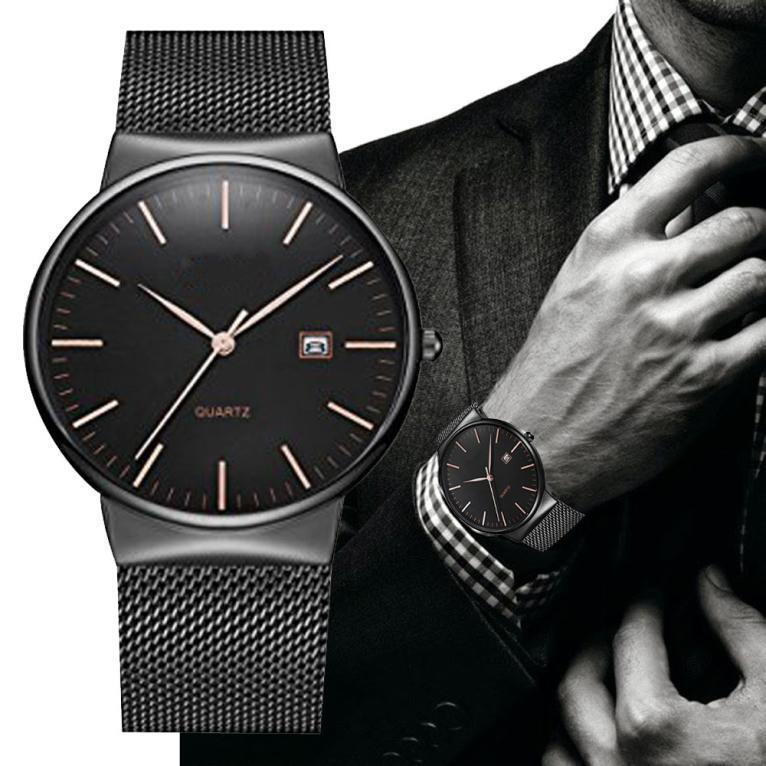 2Business Men's Fashion Date Classic Quartz Analog Stainless Steel Wrist Watches