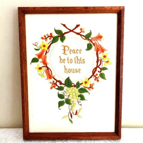 """Vtg Completed Embroidered Stitch Art """"PEACE BE TO THIS HOUSE"""" Framed w/ Grapes a"""