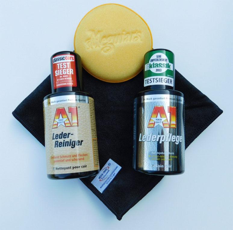 Dr.Wack A1 Leder-Reiniger + Lederpflege + Meguiar's Pad + Mikrofasertuch