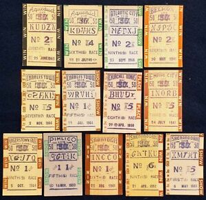 $50 TOTE TICKETS 1940'S - 1960'S LOT OF 13 HEAVY CARDBOARD HORSE RACING TICKETS!