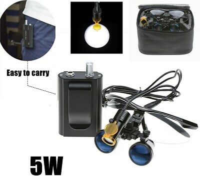 Dental 5w Led Head Light W Filter Belt Clip 3.5x Binocular Loupes Black