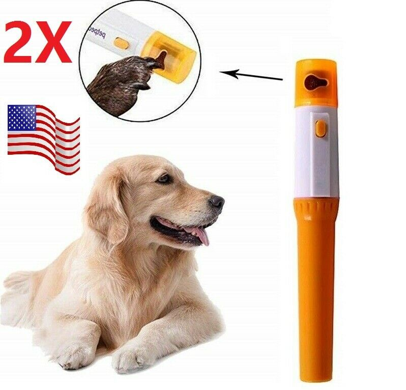 2pcs Electric Dog Nail Grinder Clippers Cutters Trimmer Safe Painless Small Dogs Dog Supplies