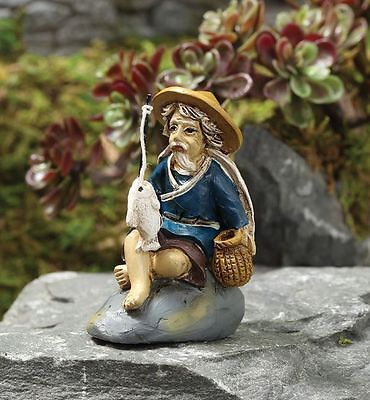 Miniature Fairy Garden Zen Fishing Mud Man - Buy Three Save $5.00