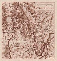 G1643 France - Route Des Dames De Meuse - Carta Geografica - 1934 Vintage Map -  - ebay.it