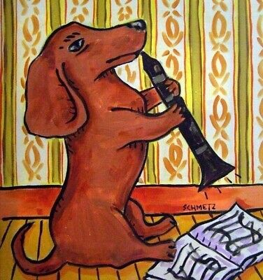 Dachshund playing clarinet dog art tile coaster gift, used for sale  Guyton