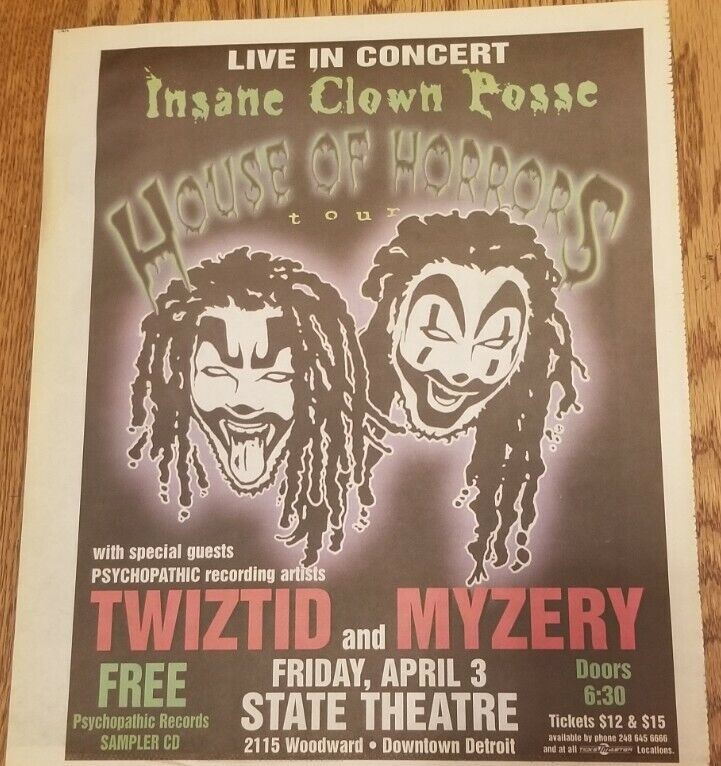 Insane Clown Posse - House of Horrors Tour Newspaper Ad Flyer twiztid myzery icp